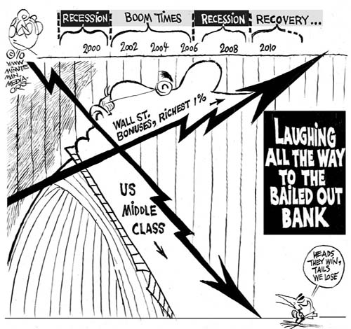 Editorial Cartoon banker laughing at eh the middle class